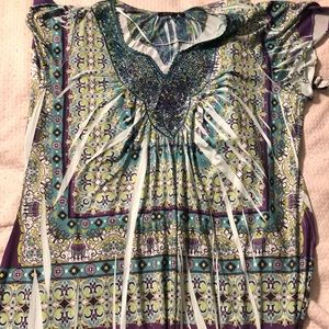 Purple and Green printed short dress
